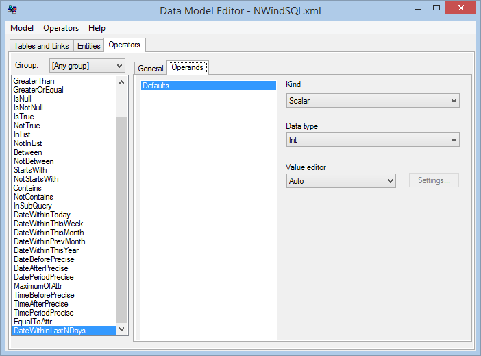 Data Model Editor - operand properties