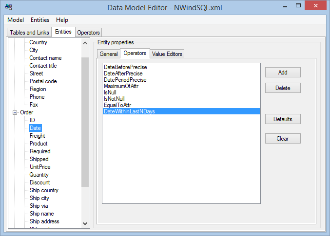 Data Model Editor - associate operator with attributes