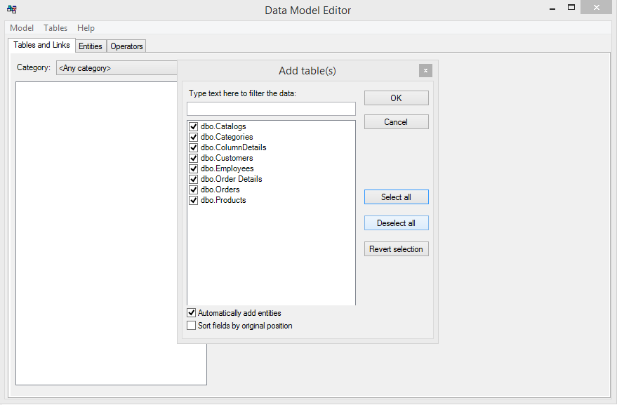 Data Model Editor - fill tables list
