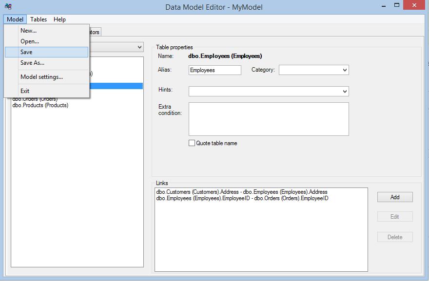 Data Model Editor - save model