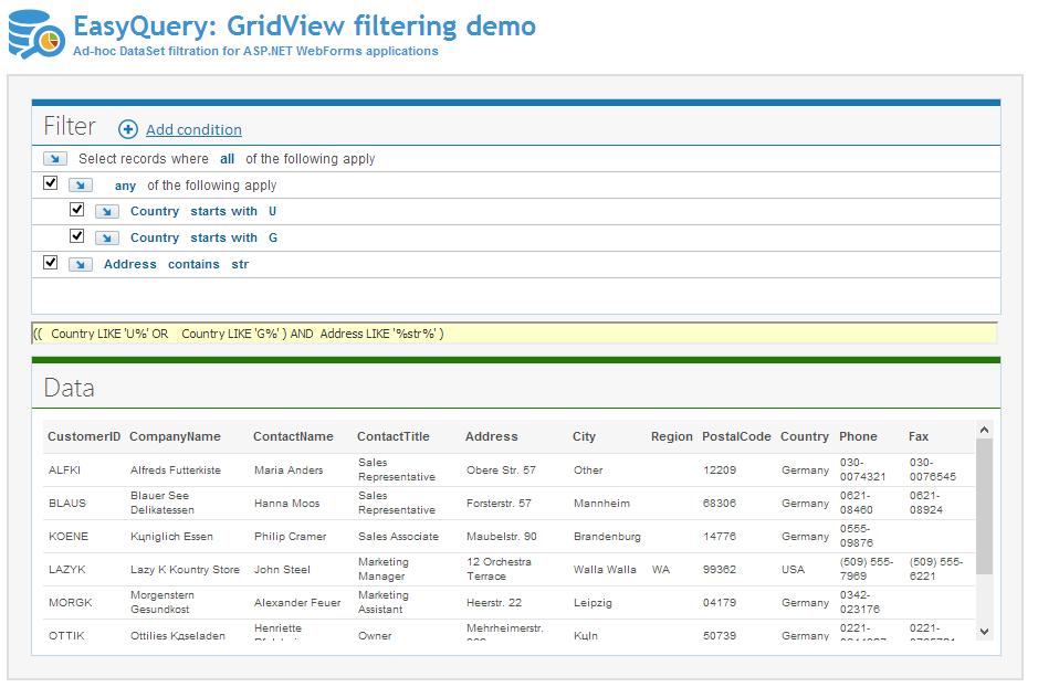 GridView filtering form